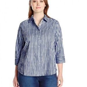 Foxcroft Crinkle Blue Gingham Stretch Shirt 14W